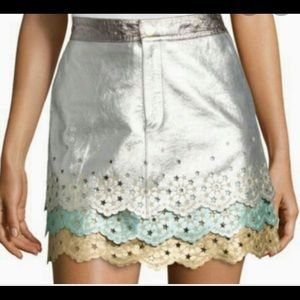 Tommy Hilfiger Collection Metallic Leather Skirt